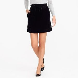 J. Crew Velvet Sidewalk Mini Skirt Black